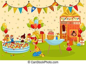 gens, cour de récréation, fête, anniversaire, illustration, vecteur, gosses, enfants