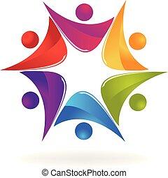 gens, créatif, collaboration, amusement, logo, icône
