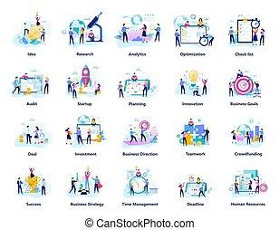 gens, créatif, set., équipe, grand, collection, travail, business