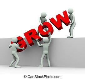 gens, -, croissance, 3d, concept