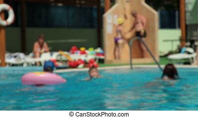 gens, délassant, piscine, natation