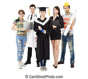 gens dans, différent, métiers, debout, à, remise de diplomes