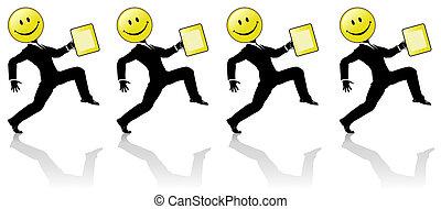 gens, danse, étape, élevé, smiley, equipe affaires