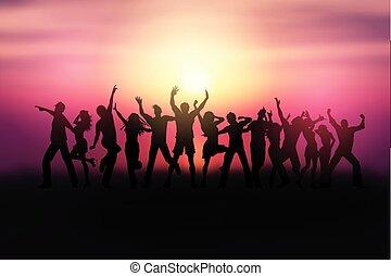gens, danse, 0504, silhouettes, coucher soleil, paysage