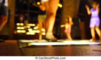 gens, danse, danse, club disco, plancher, fond, defocused