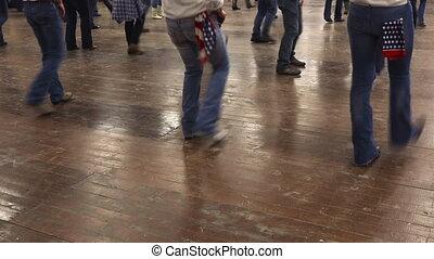 gens, danse, pays, cowboy charge, musique, danse, ligne