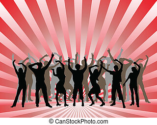 gens, danse, silhouettes, -, vecteur