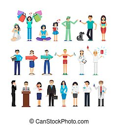 gens, de, différent, métiers