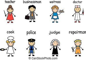 gens, de, divers, professions