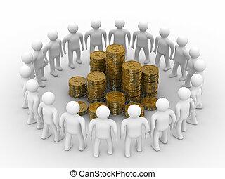 gens, debout, autour de, de, argent., isolé, 3d, image