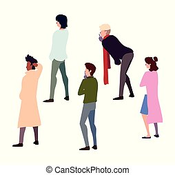 gens, debout, différent, groupe, poses