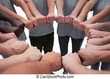 gens, dehors, jeune, leur, groupe, confection, cercle, mains