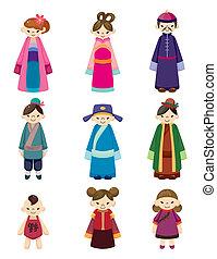 gens, dessin animé, ensemble, icône, chinois