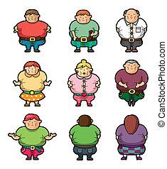 gens, dessin animé, graisse, icônes