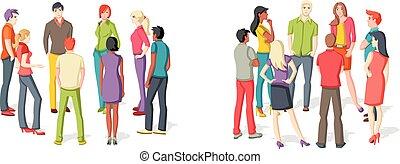 gens, deux, groupes, meeting.
