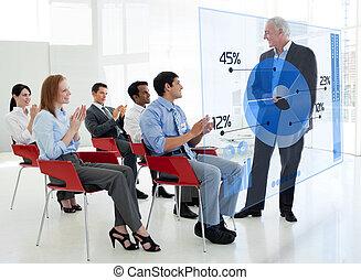 gens, diagramme, debout, applaudir, interface, bleu affaires, tarte, réunion, stakeholder, devant