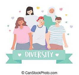 gens, différent, groupe, caractères, debout, multiracial, multiculturel, divers