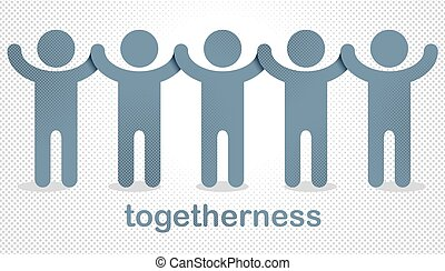 gens, différent, icon., mondiale, une, allégorie, mondial, global, togetherness, coopération, ou, races, stand, vecteur, unité, société, logo, concept, amitié, nous, illustration, solidarité