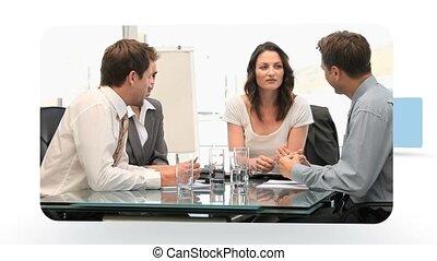 gens, différent, situations, montage, business, travailler ensemble