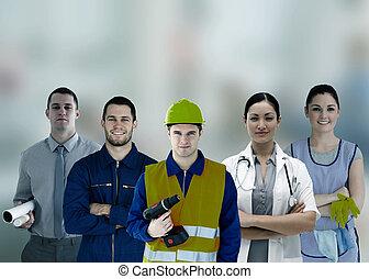 gens, différent, travaux, sourire, groupe