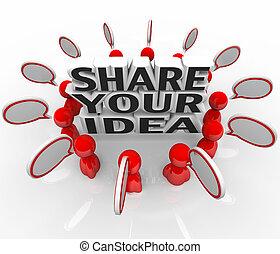 gens, discuter, part, idée, créatif, problème, solution, ton