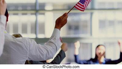 gens, drapeau, séminaire, business, politique, onduler, ...