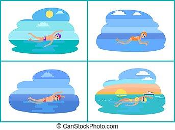 gens, eau, vecteur, icon., dessin animé, natation