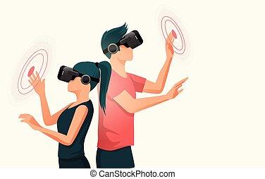 gens, ecouteurs, jeune, réalité virtuelle, deux, utilisation