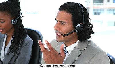gens, ecouteurs, téléphone, business