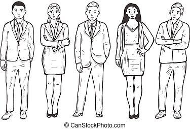 gens, ensemble, groupe, mélange, business, course