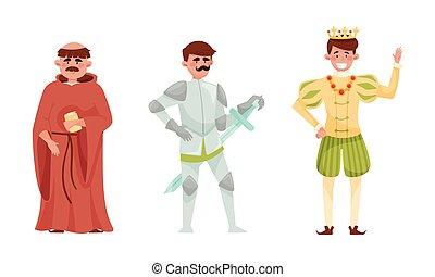 gens, ensemble, ou, jeune, moine, vecteur, moyen-âge, prêtre, prince
