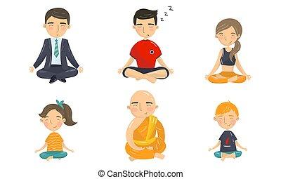 gens, ensemble, pose yoga, méditation, caractères, vecteur, séance