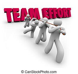 gens, ensemble, traction, mots, effort équipe