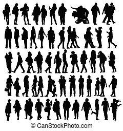gens, ensemble, vecteur, silhouette