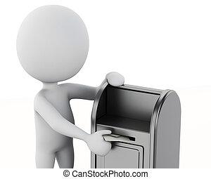 gens, envelope., boîte lettres, 3d, blanc