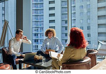 gens, espace, groupe, bureau