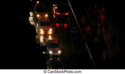 gens, et, voitures, dans, forte pluie