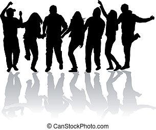 gens, fête, danse