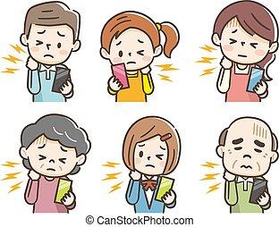 gens, fatigué, coup, leur, téléphone, douleur, cou, tenue