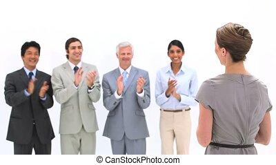 gens, femme, applaudir, business