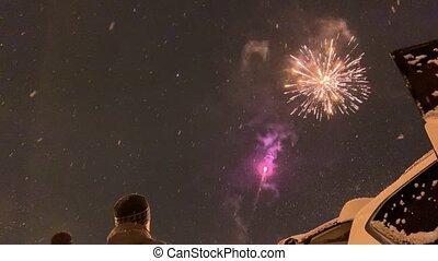 gens, feux artifice, dehors, année, nouveau, regarder
