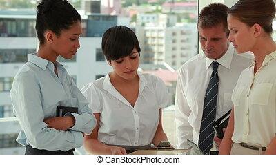 gens, fichier, sur, affaires conversation