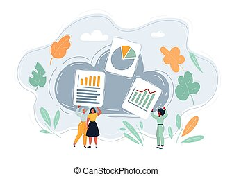 gens, files., service, utilisation, vecteur, économie, stockage, groupe, nuage, illustration