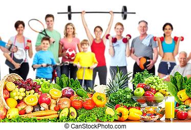 gens, fitness, nourriture., groupe