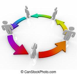 gens, flèches, couleurs, connecté, cercle, changement