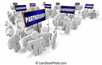 gens fonctionnement, association, illustration, ensemble, groupes, signes, 3d