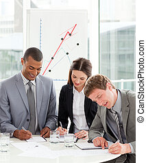 gens, fonctionnement, business, ensemble, concentré