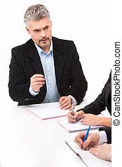 gens, fonctionnement, business, reposer ensemble, table., groupe, arrière-plan., divers, travail, blanc