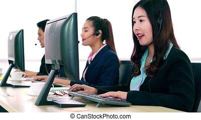 gens fonctionnement, ecouteur portant, bureau, business