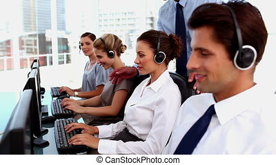 gens, fonctionnement, sourire, business
